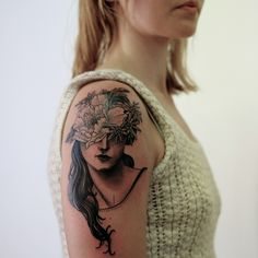 floral lady tattoo by victor j webster