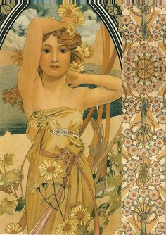 The Times of the Day: Brightness of Day, 1899 and Documents decoratifs, 1902 by Alphonse Mucha (1860-1939).