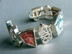 Bangle set with pieces of old porcelain