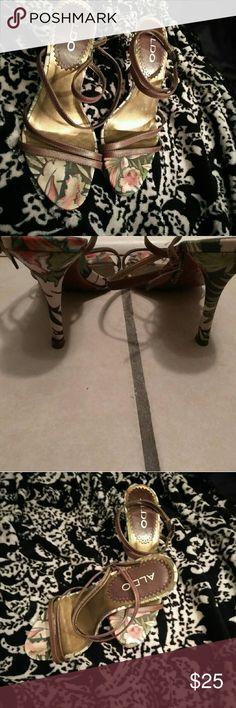 Aldo Strap Safari Sandals Safari print with brown leather straps Aldo Shoes