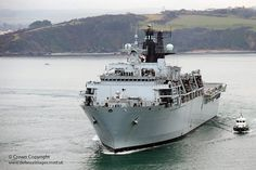 HMS Bulwark is pictured sailing from her home port of Devonport, Plymouth