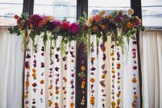 hanging floral altar by Molly Oliver Flowers at #brooklynwinery © Khaki Bedford Photography www.khakibedfordphoto.com