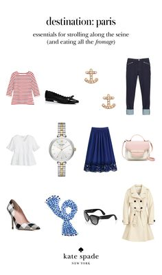 here's what to pack for a jaunt to paris: a classic trench, a striped tee, comfy flats and printed pumps, skinny jeans, a full skirt, a menswear-inspired watch and a ladylike handbag (among other pretty pieces). ooh la la! click to shop the look.