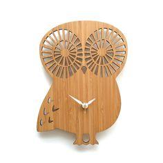 Modern Owl Wall Clock  Bamboo by decoylab on Etsy, $78.00