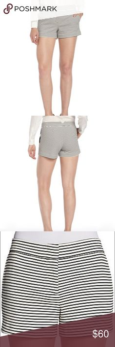 BCBGMaxAzria Striped Knit Shorts BCBGMaxAzria black and white striped knit shorts (horizontal stripes) in a stretch cotton blend, size: Medium. Very flattering and comfortable! BCBGMaxAzria Shorts