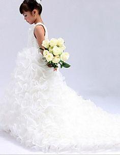 Ballkleid Juwel Kathedrale Zug Satin Blumenmädchen Kleid - leider nur in weiß