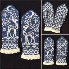 Knitting Patterns Ravelry Ravelry: Midvinter (Mid Winter) pattern by JennyPenny Knitted Mittens Pattern, Fair Isle Knitting Patterns, Knit Mittens, Knitting Charts, Knitting Socks, Hand Knitting, Knitted Hats, Crochet Patterns, Norwegian Knitting