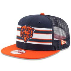 b93d67882bf611 Men's Chicago Bears New Era Navy/Orange Throwback Stripe Original Fit  9FIFTY Snapback Adjustable Hat