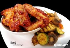 Barbecue csirkeszárny grillezett zöldségekkel Atkins, Chicken Wings, Bacon, Grilling, Bbq, Meat, Food, Barbecue, Barrel Smoker
