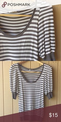 Puff sleeve striped sweater Puff sleeve striped sweater by TRICOT JOLI USA, purchased at Nordstrom. Grey & cream stripe, super soft cotton. Happy to answer any questions you may have! Nordstrom Tops