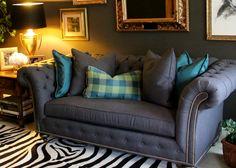 """Cozy Den -#Ethan Allen Design Mansfield 70"""" bench seat sofa in a Grey tweed"""