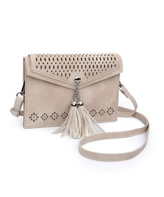 c54da8bc5 Small Crossbody Purse for Women with Double Compartment- Tassel Phone Bag  for Girl - Beige - CH189HTQCNI
