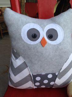 Owl pillow, fleece owl, stuffed owl, chevron, gray, polka dots, fleece