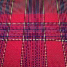 Cotton dish towels on my rigid heddle loom - log cabin pattern