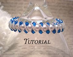 This listing is for a Tutorial PDF Right Angle Weave Swarovski Crystal and Pearl Bracelet with Twisting Seed Bead Overlay. Silver Pearls, Swarovski Pearls, Jewelry Patterns, Beading Patterns, Beading Ideas, Bracelet Patterns, Right Angle Weave, Braided Bracelets, Bijoux Diy
