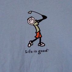 Life is Good Jake Golfing T-shirt XL Blue Green Trim Double Stitching