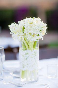 Lace turns a simple vase into an elegant container. Vase Arrangements, Vase Centerpieces, Vases Decor, Wedding Centerpieces, Wedding Decorations, Wedding Ideas, Wall Vases, Centrepiece Ideas, Flower Arrangement