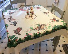 Vintage Startex Tablecloth Western Cowboys Ride by unclebunkstrunk