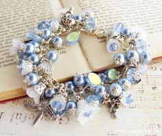 Sapphire Blue Floral  Pearl & Crystal Beaded Charm Bracelet, White Raven Designs