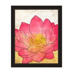 Horizon 'Pink Lotus' Grunge Framed Graphic Wall Art