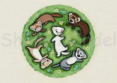 Ferret Art ACEO print  Frolicking Ferrets  by ShellyMundelArt