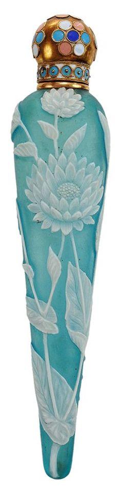 Cameo Glass Elongated Teardrop Perfume, English, late 19th century.