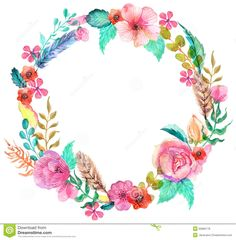 Flower Watercolor Wreath Stock Illustration - Image: 50883178