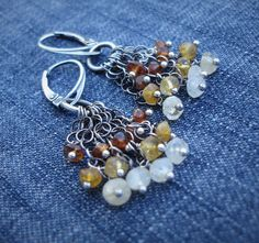 Ombre Earrings-Boho Chic Jewelry-Hessonite by 23littlewishes