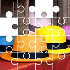 Hats Pan Color Jigsaw Puzzle, 48 Piece Classic. Panama hats in bright colors for
