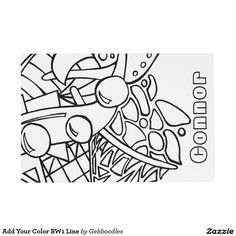 Add Your Color BW1 Line Placemat - $16.95 - Add Your Color BW1 Line Placemat - by #RGebbiePhoto @ #zazzle - #Abstract #Coloring #Doodle - We have matching plates and napkins, too! See our store for more of this line! Show your creativity with color on these segmented outlines. Coloring Book Style Abstract Doodle Art, geometric mish mash. Flowing lines creating abstract spaces and shapes. Similar to graffiti art with bold lines and room for lots of color.