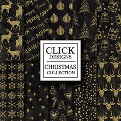 Christmas Digital Paper: CHRISTMAS BLACK GOLD by ClickDesigns