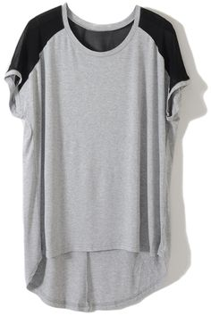 Asymmetric Hem Grey T-shirt. Description Grey T-shirt, featuring scoop neck, contrasting shoulder and short sleeves styling, asymmetric hem elongated in back, loose and basic styling, all in soft-touch.  Fabric Cotton Washing 40 degree machine wash, do not bleach, do not tumble dry, cool iron on reverse, do not dry clean. #Romwe