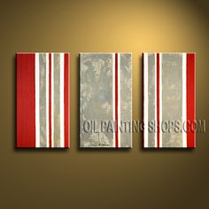 Beautiful Modern Abstract Painting Artist Oil Painting Stretched Ready To Hang Abstract. This 3 panels canvas wall art is hand painted by Bo Yi Art Studio, instock - $138. To see more, visit OilPaintingShops.com