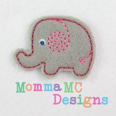 Elephant Felt Embroidery Design by MommaMC on Etsy, $3.00