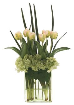 Natural Decorations, Inc. - Tulip Hydrangea | Green Glass | Pink Green