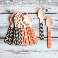 Halloween Chevron Mini Wooden Spoons - Set of 12 $5