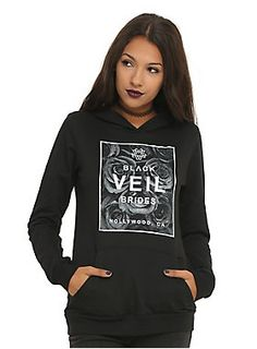<p>Black pullover hoodie from Hollywood, California's Black Veil Brides with a floral box logo design on front.</p>  <ul> 	<li>50% cotton; 50% polyester</li> 	<li>Wash cold; dry low</li> 	<li>Made in USA</li> 	<li>Listed in junior sizes</li> </ul>