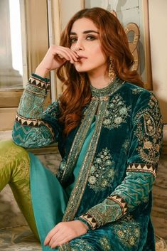 Maria B Embroidered Formal Winter Dresses Collection by Fazeela Hussain Pakistani Formal Dresses, Winter Formal Dresses, Pakistani Dress Design, Pakistani Outfits, Indian Dresses, Indian Outfits, Formal Outfits, Pakistani Designers, Dress Formal