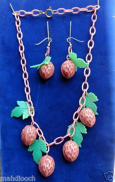 Carved BAKELITE WALNUT SET earrings & necklace Celluloid chain