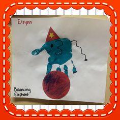 Elephant hand print art for circus and animal themed curriculum
