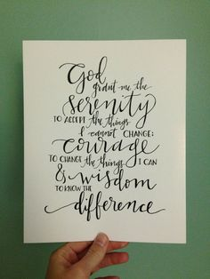 serenity prayer  hand lettered print by ChosenLetteringCo on Etsy