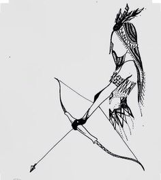 Indian Girl Bow And Arrow Drawing ink art by ChicCharcoals: