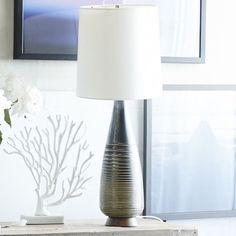 West Elm 5843297 Mid-Century Ceramic Table Lamp - Taper - Table Lamps - Light Fixtures - Home Lighting Table Lamp Wood, Black Table Lamps, Ceramic Table Lamps, Glass Table, Tall Lamps, Home Lighting, Office Lighting, Lighting Sale, Lighting Design