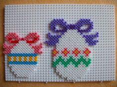 Easter eggs hama perler by Melt Beads Patterns, Pearler Bead Patterns, Perler Patterns, Beading Patterns, Hama Beads Design, Diy Perler Beads, Perler Bead Art, Cross Stitch Beginner, Art Perle