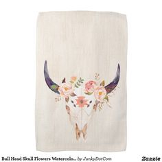 Bull Head Skull Flowers Watercolor Illustration Hand Towels March 11 2017 #junkydotcom #zazzle