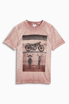 Buy Rust Garment Dyed Motorbike T-Shirt from the Next UK online shop