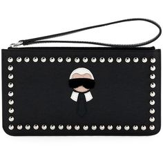 Fendi Karlito Flat Stud-Trim Pouch Bag ($650) ❤ liked on Polyvore featuring bags, handbags, clutches, black multi, fendi handbags, black handbags, fendi pouch, wristlet clutches and black studded purse