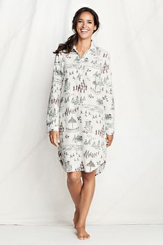 b06e6551e7 Women s Long Sleeve Print Flannel Nightshirt from Lands  End size small