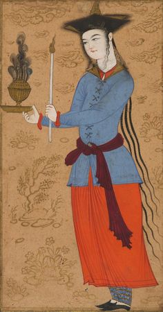 Iranian, Safavid period Youth holding a candle and an incense burner, ca. 1640 Opaque watercolor and gold on paper