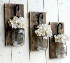 Set of 2 Hanging Mason Jar Sconce. , Set of 2 Hanging Mason Jar Sconce.Rustic Weathered Wall Sconces Set of 2 Hanging Mas. Mason Jar Sconce, Hanging Mason Jars, Rustic Mason Jars, Pots Mason, Mason Jar Candles, Rustic Farmhouse Decor, Rustic Wall Decor, Rustic Walls, Farmhouse Style